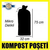 Özel Mikro Delikli İstiridye Mantarı Kompost Poşeti Siyah 50 Adet 32 x 75
