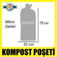 Özel Mikro Delikli İstiridye Mantarı Kompost Poşeti Şeffaf 50 Adet 32 x 75